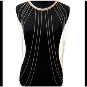 Gold Tone Body Chain Necklace